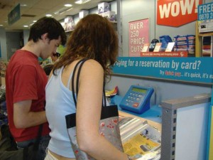 Mike and Shannon browsing through the catalogues at Argos