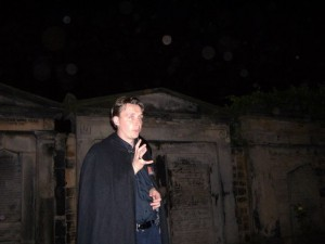 Telling spooky stories at Cannongate Graveyard