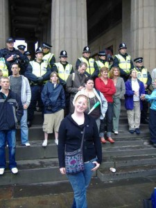 Posing in front of the police