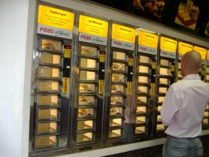 Hmm, what burger should I get from the vending machine? (answer: none!)