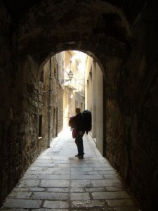 Standing in the entrance to our pension in Girona
