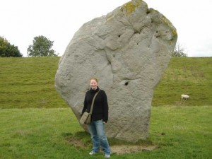 Standing in front of ancient stone at Avebury