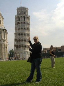 Bobbi holding up the Leaning Tower of Pisa