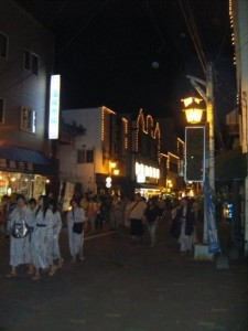 Noboribetsu Onsen of a night - everyone wears their summer kimono - yukata - around town