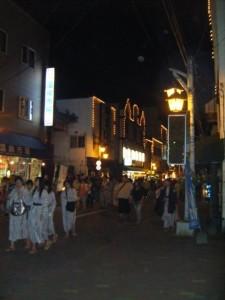 Noboribetsu Onsen of a night - everyone wears their summer kimono - yukata - around town