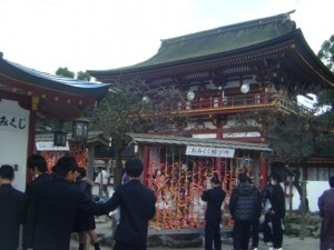 Students tying their fortunes up at Dazaifu