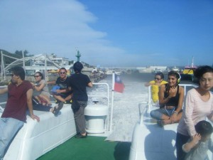 "The ""ferry from hell"" aka the trip over to Green Island. The sun is shining, everyone is happy, dry and smiling..."