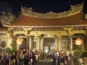 Taipei Longshan Temple, all lit up for the street festival